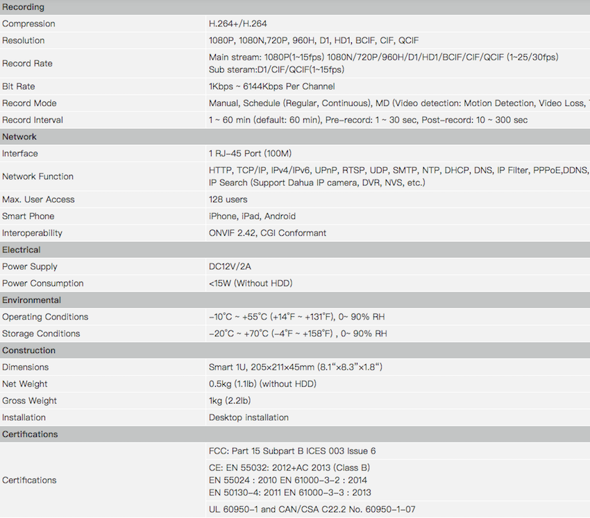 Dahua HCVR5104C-S3 - 4ch HDCVI Recorder