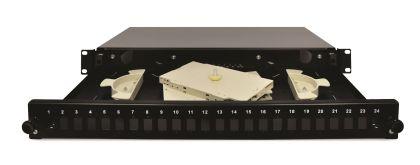 24 CORE FIBER OPTIC PATCH PANEL BLACK SC ADAPTER