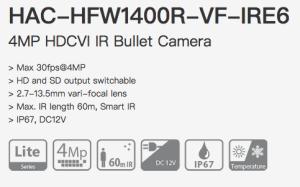 Dahua HAC-HFW1400R-VF-IRE6 - HDCVI 4MP Варифокална Камера