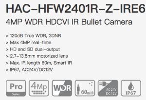 Dahua HAC-HFW2401R-Z-IRE6 - 4MP WDR Варио Моторизирана Камера
